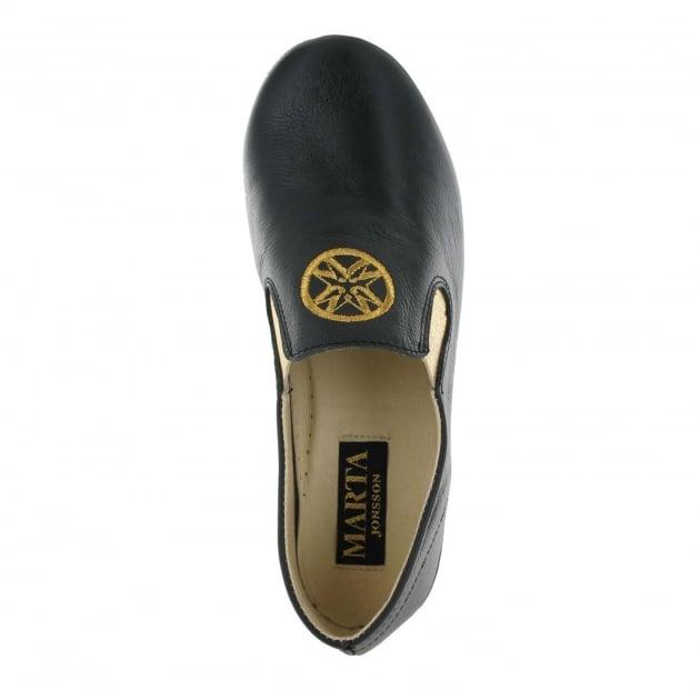 Marta Jonsson Leather Slippers 9002L Black Slippers