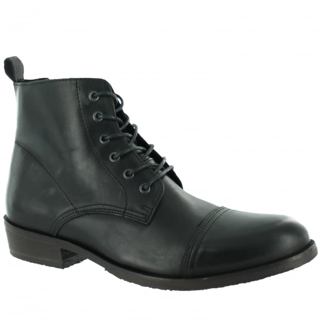 Marta Jonsson Mens Ankle Boot With Laces J4560L Black Boots