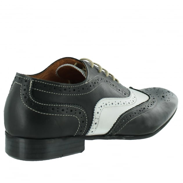 Mens Lace Up Classic Brogue J2348L Black/White Shoes