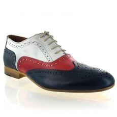 Marta Jonsson Mens Lace Up Classic Brogue J2348L Navy/Red/White Shoes