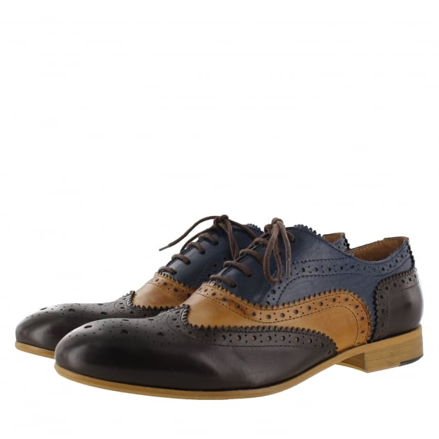 Marta Jonsson Mens Lace Up Classic Brogue J2348Le Navy/Tan/Brown