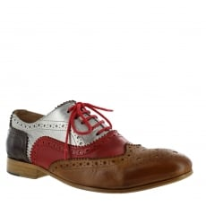 Marta Jonsson Mens Lace Up Classic Brogue J2348Le Silver/Red/Tan/Brown