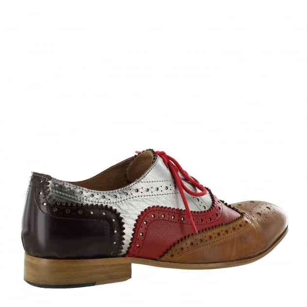 Mens Lace Up Classic Brogue J2348Le Silver/Red/Tan/Brown