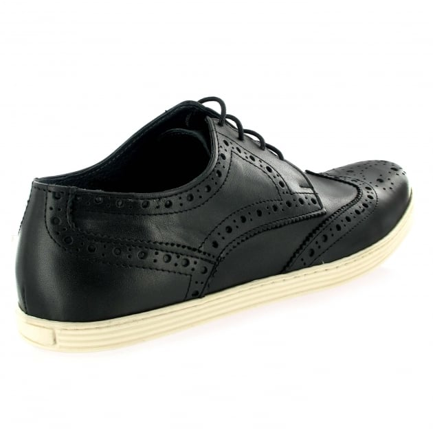 Mens Leather Casual Trainer J4619L Black Shoes