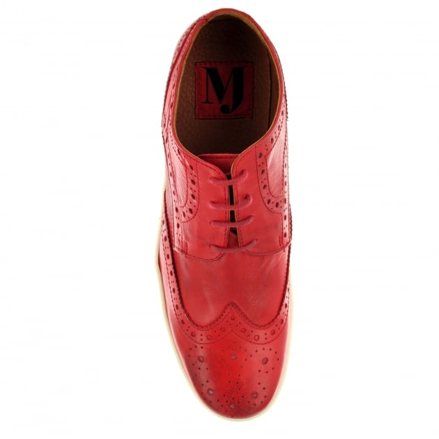 Marta Jonsson Mens Leather Casual Trainer J4619L Red Shoes