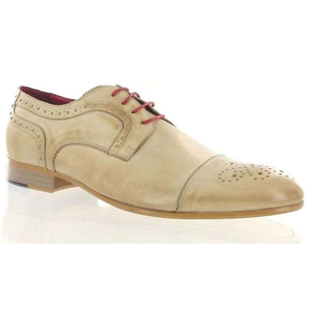 Marta Jonsson Mens Leather Shoe With Brogue J2349L Sand Shoes