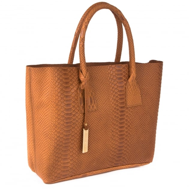 Snake Leather Grab Bag 8358S Tan