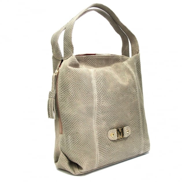 Marta Jonsson Snake Textured Suede Shoulder Bag 158S Beige