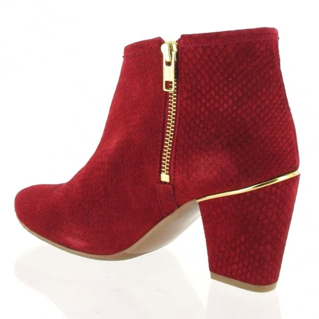 Marta Jonsson Suede Ankle Boot 4025S Red Boots
