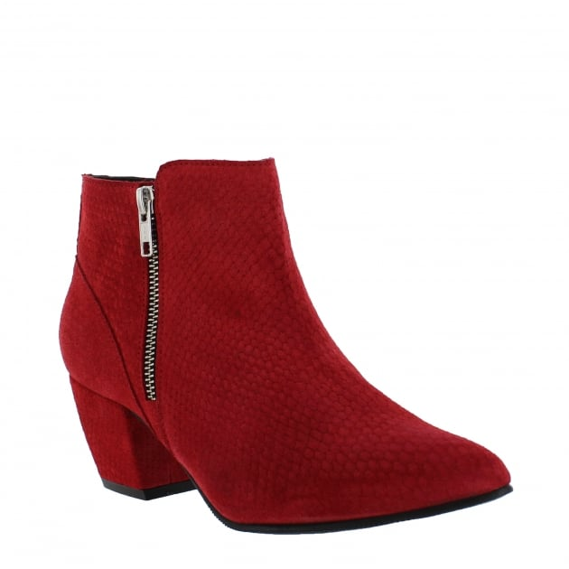 Marta Jonsson Womens Ankle Boot with a Block Heel and Metallic Zips 2157 Red