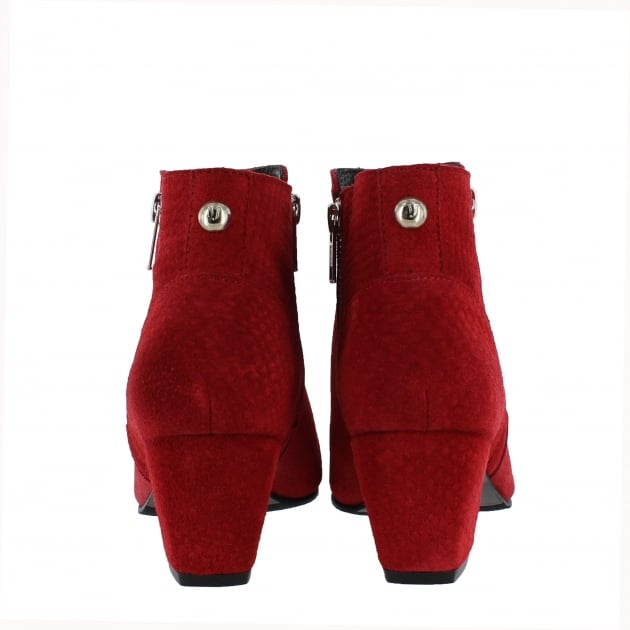 Womens Ankle Boot with a Block Heel and Metallic Zips 2157 Red