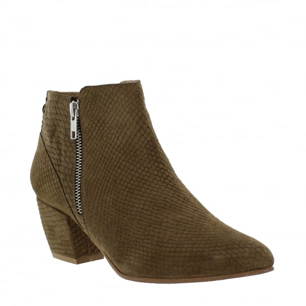 Womens Ankle Boot with a Block Heel and Metallic Zips 2157 Taupe