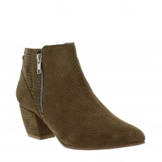 Marta Jonsson Womens Ankle Boot with a Block Heel and Metallic Zips 2157 Taupe