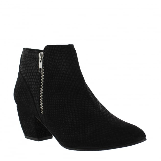Womens Ankle Boots with a Block Heel and Metallic Zips 2157 Black