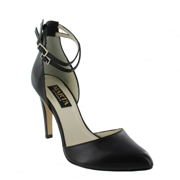 Womens Ankle Strap Court Shoes 1515L Black