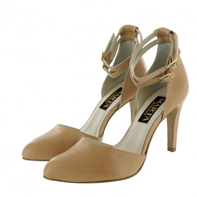 Womens Ankle Strap Court Shoes 1515L Nude