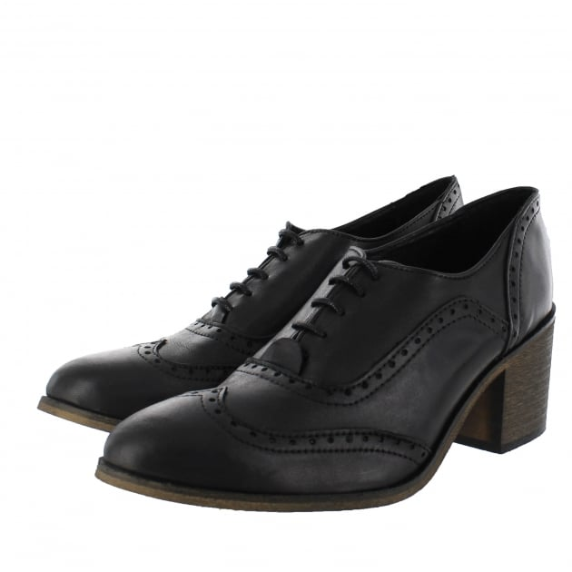 Womens Block Heeled Brogue 13035L Black