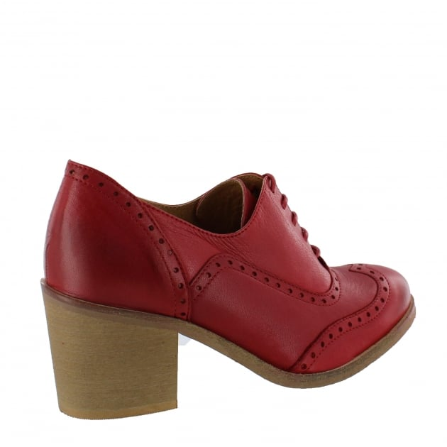 Womens Block Heeled Brogue 13035L Red
