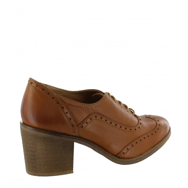 Marta Jonsson Womens Block Heeled Brogue 13035L Tan