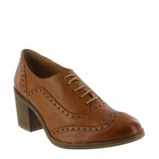 Marta Jonsson Womens Block Heeled Brogue 13035L Tan Shoes