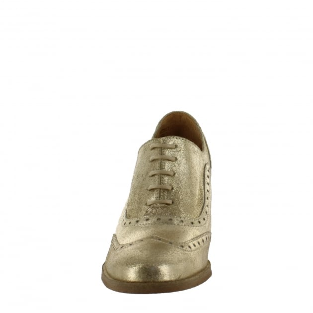 Womens Block Heeled Brogue 13035S Gold