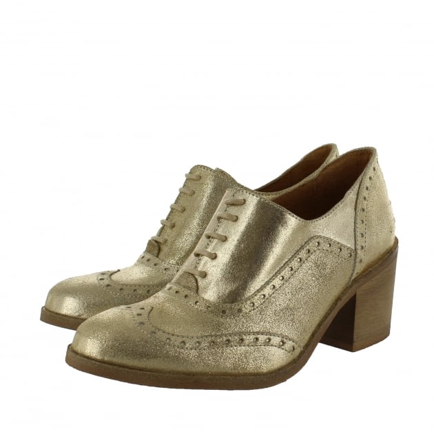 Marta Jonsson Womens Block Heeled Brogue 13035S Gold