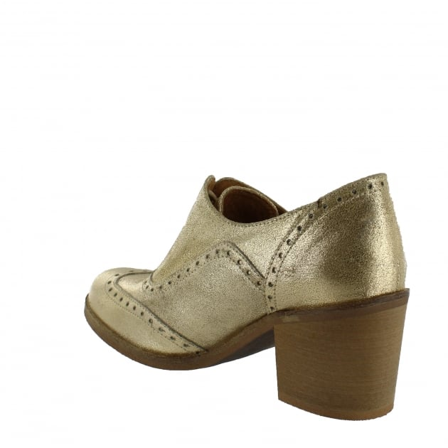 Marta Jonsson Womens Block Heeled Brogue 13035S Gold Shoes