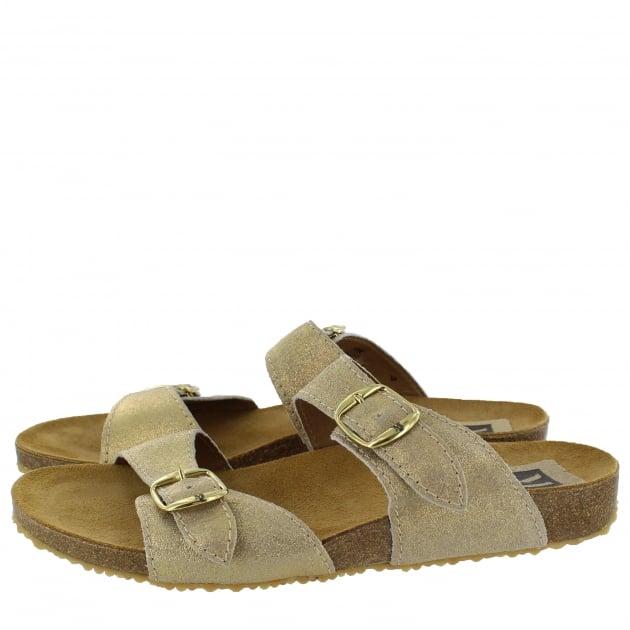 Marta Jonsson Womens Footbed Sandal 1010S Gold Sandals