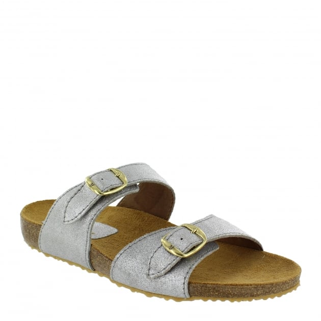 Marta Jonsson Womens Footbed Sandal 1010S Silver Sandals