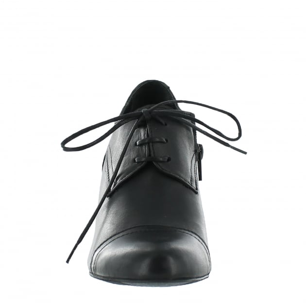 Womens High Heeled Lace Up Shoe 4740L Black