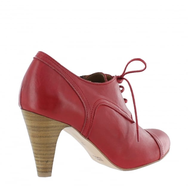 Womens High Heeled Lace Up Shoe 4740L Red