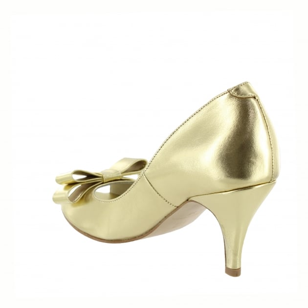 Marta Jonsson Womens Peep Toe Court Shoe 1518L Gold Shoes