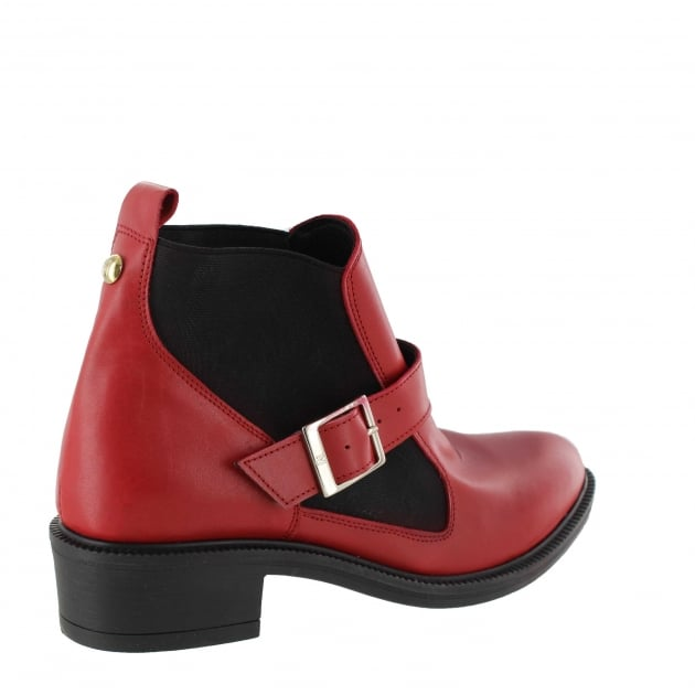 Womens Slip On Ankle Boot 4181L Red