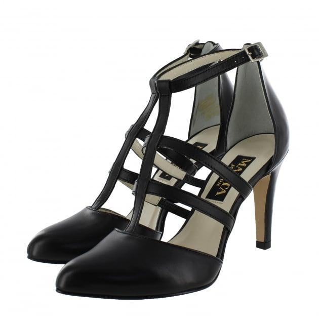 Womens Strappy Court Shoes 1516L Black