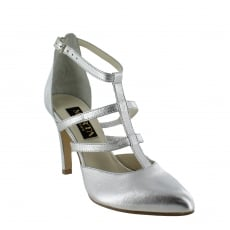 Marta Jonsson Womens Strappy Court Shoes 1516L Silver