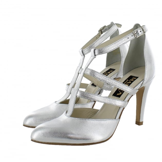 Marta Jonsson Womens Strappy Court Shoes 1516L Silver Shoes