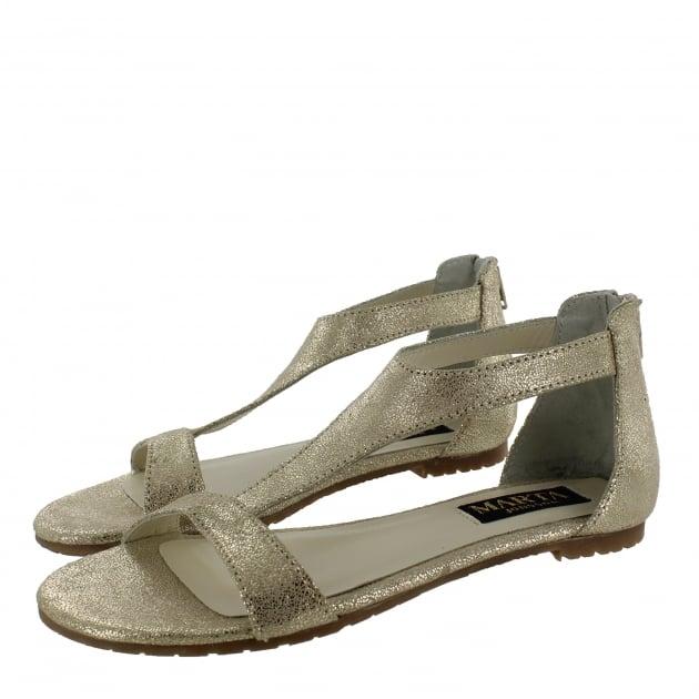 Marta Jonsson Womens T Bar Flat Sandal 6619S Gold