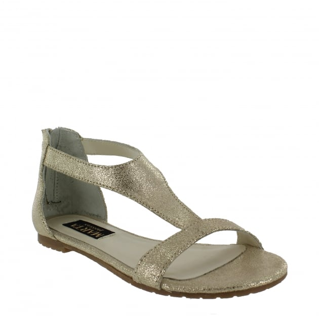 Marta Jonsson Womens T Bar Flat Sandal 6619S Gold Sandals