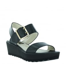 Marta Jonsson Womens Wedge Sandals 1471L Black Sandals