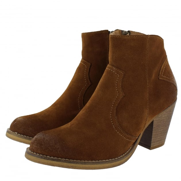 Marta Jonsson Womens Western Ankle Boot 6719S Cognac