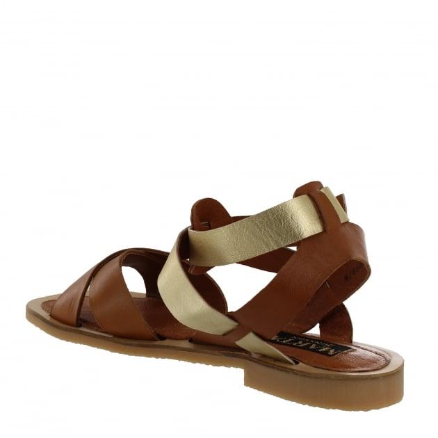 Marta Jonsson Womens X-Strap Flat Sandal 6682L Tan