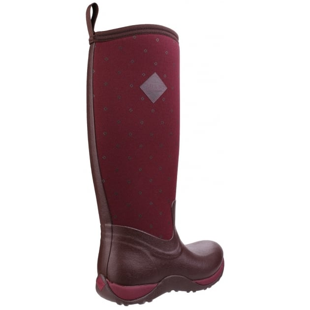 Arctic Adventure Pull On Wellington Boot - Cordovan Red Quilt