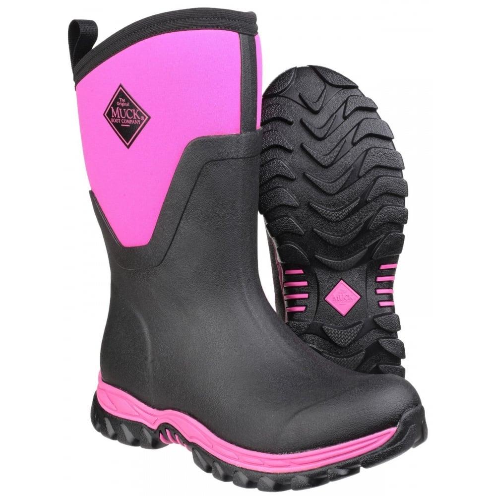 Arctic Sport Mid Pull On Wellington Boot Black Pink
