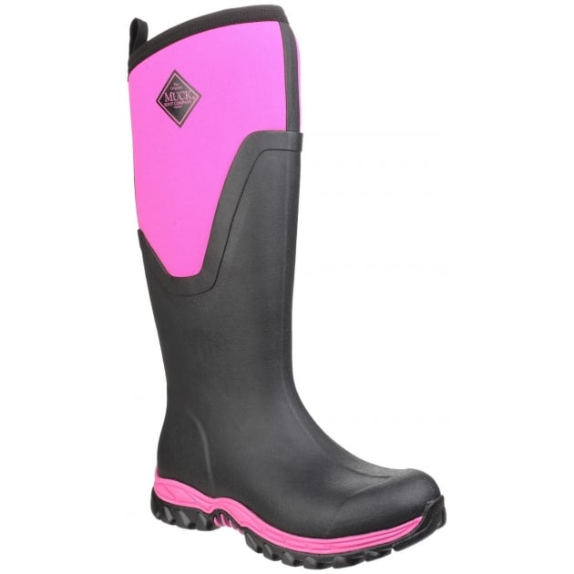 Muck Boots Arctic Sport Tall Pull On Wellington Boot - Black/Pink