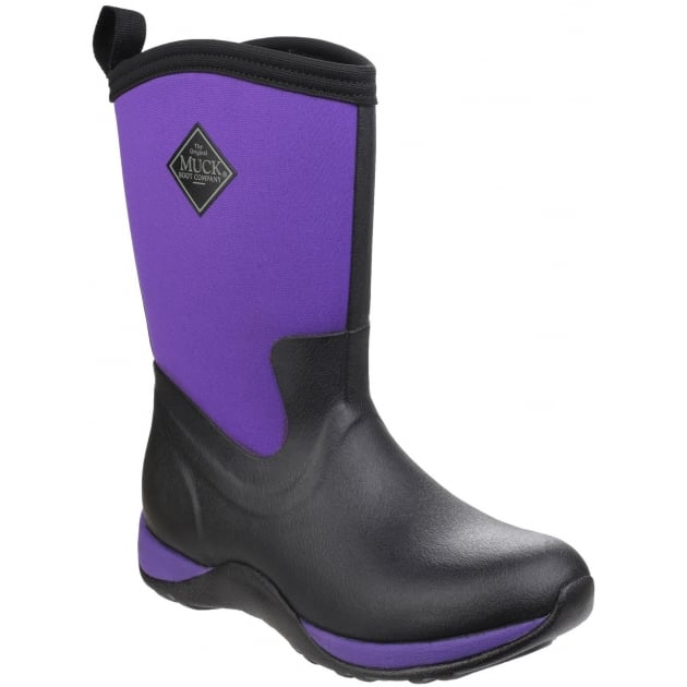 Muck Boots Arctic Weekend Pull On Wellington Boot - Black/Purple