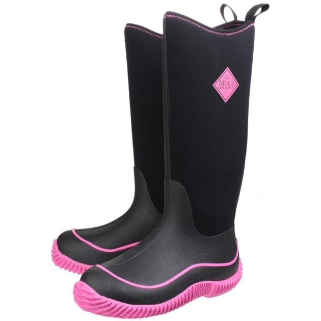 Muck Boots Hale Womens Pull On Wellington Boot - Black/Hot Pink