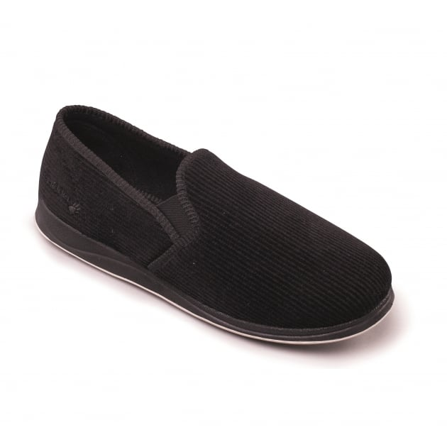 Padders Albert 408S*02 - G Fit Black Cord Slippers