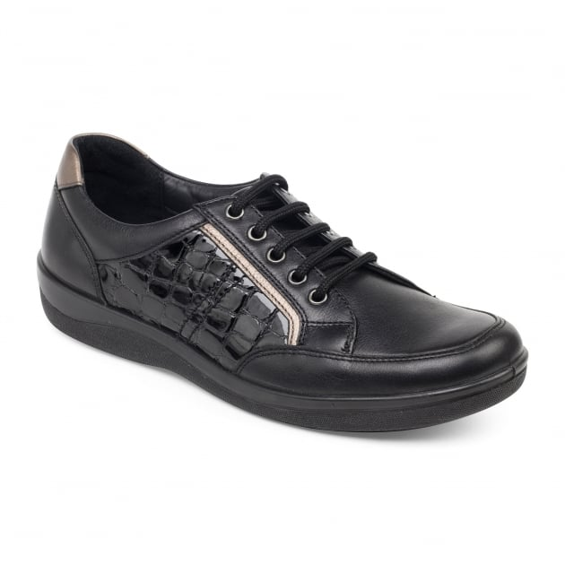 Padders Atom 240 - E Fit Black Croc Shoes