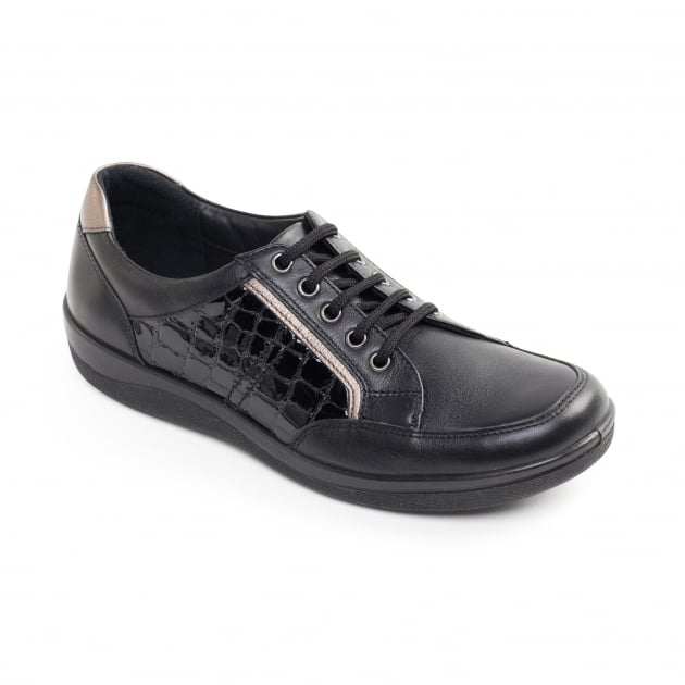 Padders Atom Black Croc Shoes
