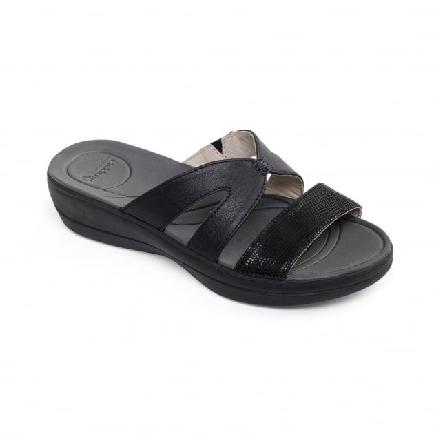 Padders Charlie Black Combination Sandals